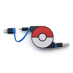 cheero 2in1 Retractable USB Cable with Lightning & micro USB Pokemon version (Blue) MFi取得 巻き取り式...