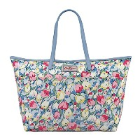 Cath Kidston Large Trimmed Tote Painted Tulips Sky Blue 593151 キャスキッドソン トートバッグ チューリップ (国内アウトレット品)