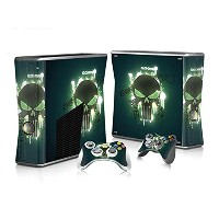 XBOX 360 Slim Skin Design Foils Faceplate Set - Glowing Skull Design