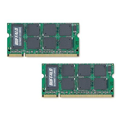 BUFFALO DDR2 667MHz SDRAM(PC2-5300) 200Pin S.O.DIMM 512MB 2枚組 D2/N667-512MX2