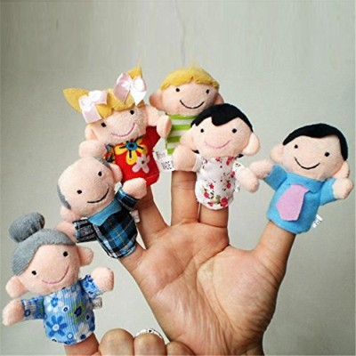 LuxBene(TM)6Pcs Family Finger Puppets Cloth Doll Baby Educational Hand Toy Story Kid