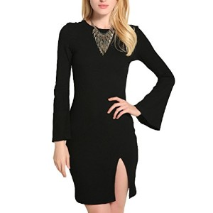 Linyuan Fashion Casual Women Slimming Dress Long sleeved Sexy Sweater ドレス Dress Party ドレス