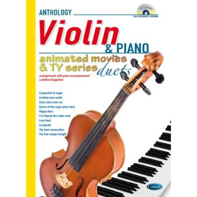 Animated Movies and TV Duets for Violin And Piano. Partitions, CD pour Violon, Piano