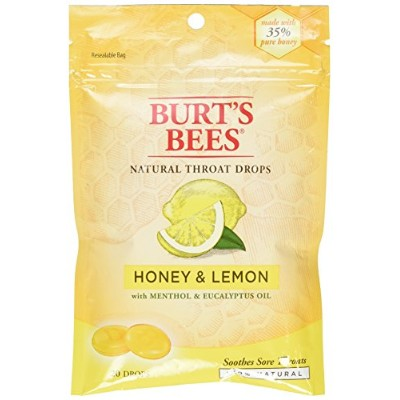Burt's Bees - Natural Throat Drops, Honey & Lemon - 20ドロップ ハチミツレモンのど飴