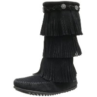 [ミネトンカ]MINNETONKA SuedeThree Layer Fringe Boot for Child's 3段フリンジ キッズ 2658 2659 【正規品】3 BLK