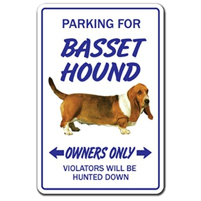 PARKING FOR BASSET HOUND OWNERS ONLY サインボード:バセットハウンド オーナー専用 駐車スペース 標識 看板 MADE IN U.S.A [並行輸入品]