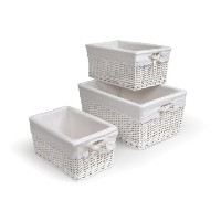 Badger Basket Three Basket Set, White by Badger Basket