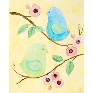 Green Frog Art Canvas Gallery Wrapped Art, Love Birds by Green Frog Art
