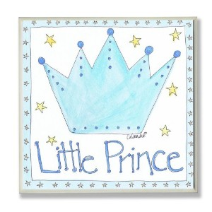 The Kids Room by Stupell Little Prince with Blue Crown Square Wall Plaque by The Kids Room by...