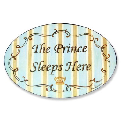 The Kids Room by Stupell The Prince Sleeps Here Blue and Brown Oval Wall Plaque by The Kids Room by Stupell