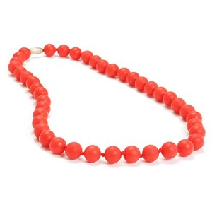 Chewbeads Jane Teething Necklace, 100% Safe Silicone - Cherry Red by Chewbeads
