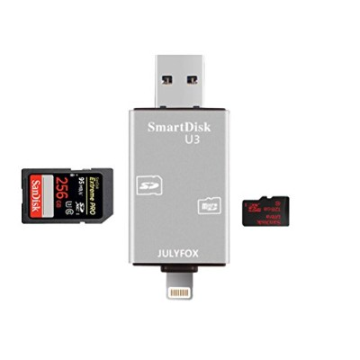 Julyfox iPhone Lighting/Micro USB/USB 3.0 カードリーダー Micro SD/TF/SDカード対応 512GB SDカードリーダー 128MB...