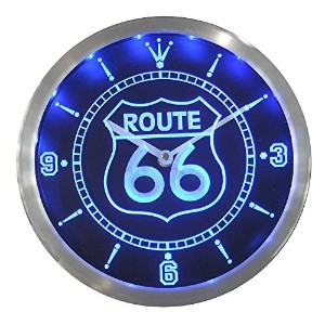 LEDネオンクロック 壁掛け時計 nc0315-b Route 66 Bar Beer Neon Sign LED Wall Clock