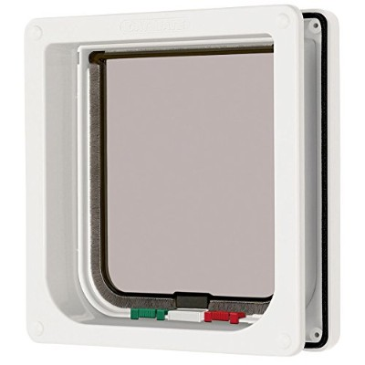 Cat Mate 4 Way Locking Cat Flap with Door Liner White by Cat Mate