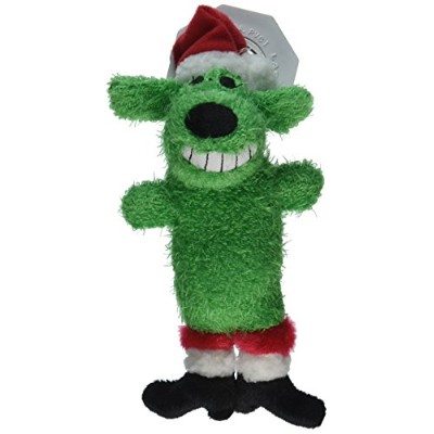 Multipet's Santa Loofa Plush Dog Toy That Squeaks, Green by Multi Pet