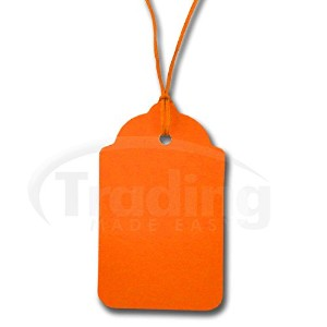 商品タグ紐付き オレンジ (100枚) 70mm x 40mm 100 x Plain Orange Stringed Card Clothing Tags