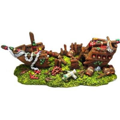 Exotic Environments Split Shipwreck Aquarium Ornament, Large, 11-Inch by 5-Inch by 4-1/4-Inch by...