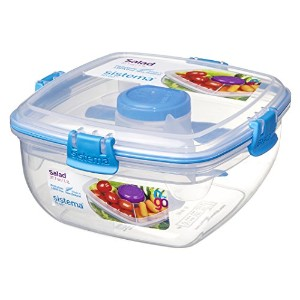 Sistema To Go Collection Salad to Go Food Storage Container, 37 oz, Blue by Sistema