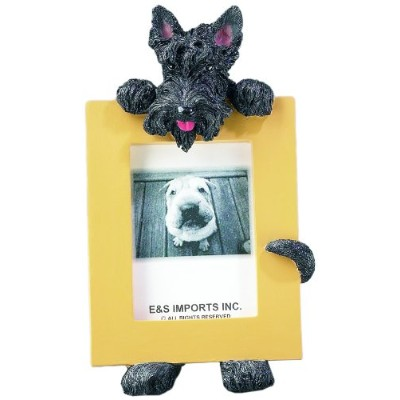 Scottish Terrier Picture Frame Holds Your Favorite 2.5 by 3.5 Inch Photo, Hand Painted Realistic Looking Scottish Terrier Stands 6 Inches Tall Holding Beautifully Crafted Frame, Unique and Special Scottish Terrier Gifts for Scottish Terrier Owners by E&S