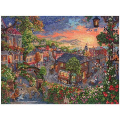 """Disney Dreams Collection By Thomas Kinkade Lady & The Tramp-16""""X12"""" 18 Count (並行輸入品)"""
