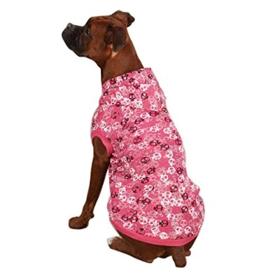 Casual Canine Polyester/Cotton Bone Heads Waffle Dog Hoodie, Medium, 16-Inch, Pink by Casual Canine