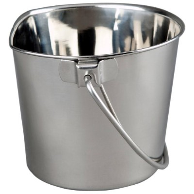 Advance Pet Products Heavy Stainless Steel Flat Side Bucket, 6-Quart by Advance Pet Products