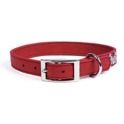 Rockinft Doggie 844587012472 .75 in. x 14 in. Leather Collar Plain - Red