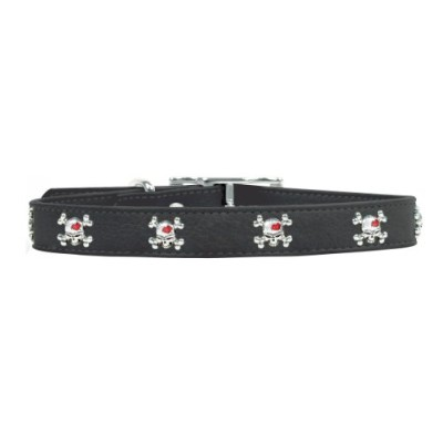 Rockinft Doggie 844587015039 1 in. x 18 in. Leather Collar with Skull Rivets - Black
