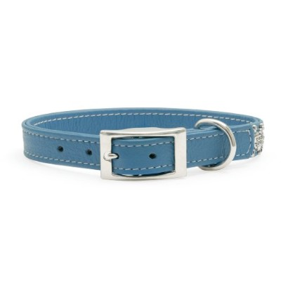 Rockinft Doggie 844587013240 1 in. x 18 in. Leather Collar Plain - Blue