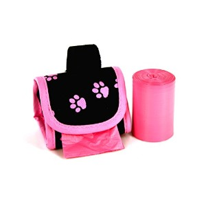 Doggie Walk Bags 2-Roll Designer Bags, Pink Paw/Pink/Citrus by Doggie Walk Bags