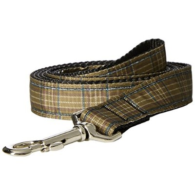 Mirage Pet Products 125-013 1006BR Plaid Nylon Collar Brown 1 wide 6ft Lsh