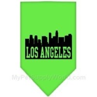 Mirage Pet Products 66-80 SMLG Los Angeles Skyline Screen Print Bandana Lime Green Small