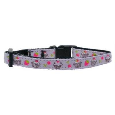Mirage Pet Products 125-019 CTPR Cupcakes Nylon Ribbon Collar Purple Cat Safety