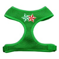 Mirage Pet Products 70-52 LGEG Double Holiday Star Screen Print Mesh Harness Emerald Green Large