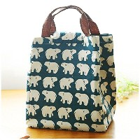 Mziart Cute Reusable Cotton Lunch Bag Insulated Lunch Tote Soft Bento Cooler Bag (Polar Bear) by...