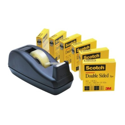 Scotch 665-6PKC40 665 Double-Sided Tape with C40 Dispenser, .5 in. x 900 in. , 6 Clear Rolls