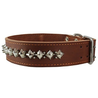 Thick Genuine Leather Spiked Studded Dog Collar Brown Sized to Fit 18-22 Neck. Retriever, Doberman,...