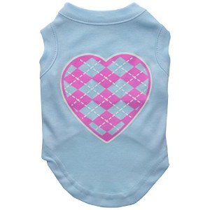 Mirage Pet Products 51-109 SMBBL Argyle Heart Pink Screen Print Shirt Baby Blue Sm - 10