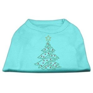 Mirage Pet Products 52-25-05 SMAQ Christmas Tree Rhinestone Shirt Aqua S - 10