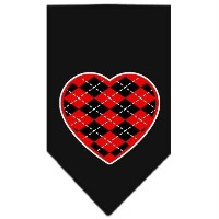 Mirage Pet Products 66-115 SMBK Argyle Heart Red Screen Print Bandana Black Small