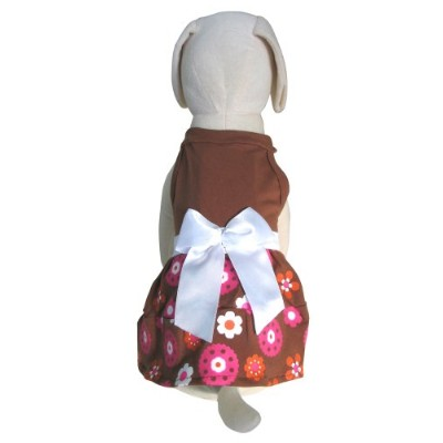 UP Collection Flower Power Dress with White Bow for Pets, Medium by UP Collection