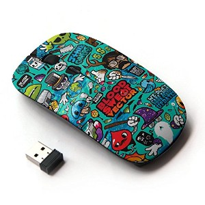 KOOLmouse [ ワイヤレスマウス 2.4Ghz 無線光学式マウス ] [ Cool School Pencils Art Cartoon Characters ]