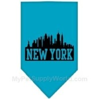 Mirage Pet Products 66-75 LGTQ New York Skyline Screen Print Bandana Turquoise Large