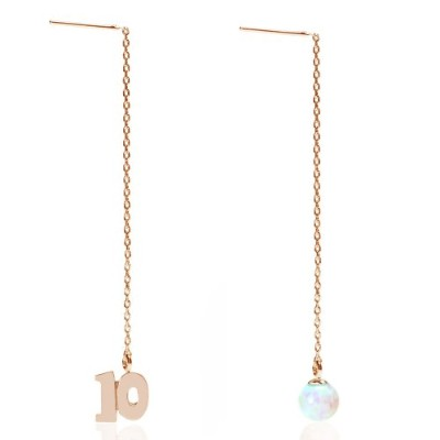 Cloud-Jewelry(クラウドジュエリー) bsce-10pg 数字&10月 誕生石 オパール チェーン ピアス シルバー925 【木製 プレゼント ギフト BOX付 】bsce-10pg