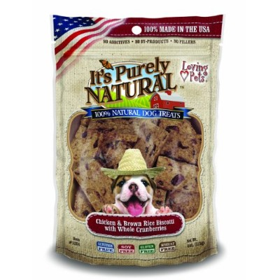 Loving Pet Chicken & Brown Rice Biscotti with Whole Cranberries Dog Treats 4oz