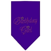 Mirage Pet Products 67-12 SMPR Birthday Girl Rhinestone Bandana Purple Small