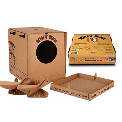 Kitty Kan Traveler Quality Enclosed Disposable Litter Box with Scoops and a Bonus Cat Bed by Kitty...