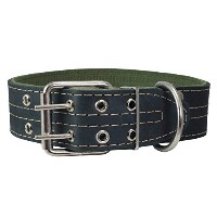 Genuine Leather Dog Collar, Padded, Black 1.5 Wide. Fits 22.5-26.5 neck size Great Dane Mastiff by...