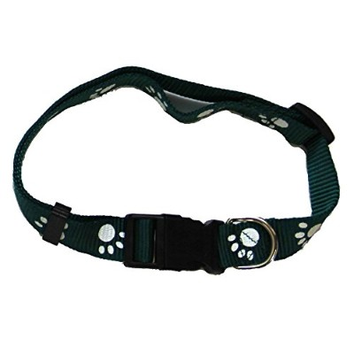 Iconic Pet 91866 Paw Print Adjustable Safety Dog Collar - Green - Large