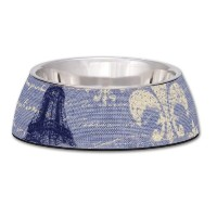 Loving Pets Blue Linen Milano Bowl for Dogs, Large by Loving Pets